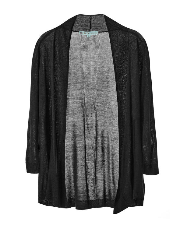 Black Basic Cardigan, Black, hi-res