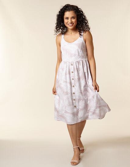 Blush Palm Print Linen Dress, Blush/Pink, hi-res