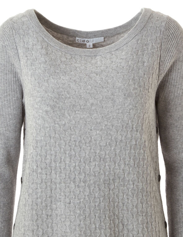 Grey Embossed Knit Sweater, Grey, hi-res