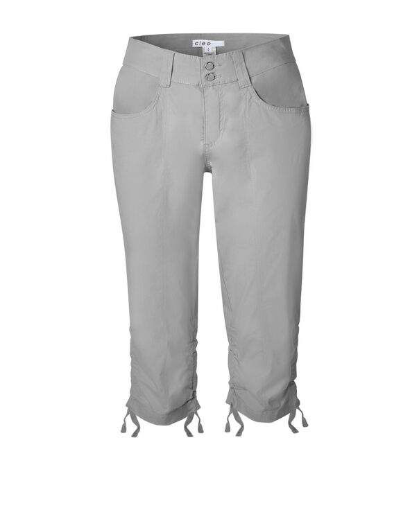 Grey Ruched Poplin Capri, Grey, hi-res