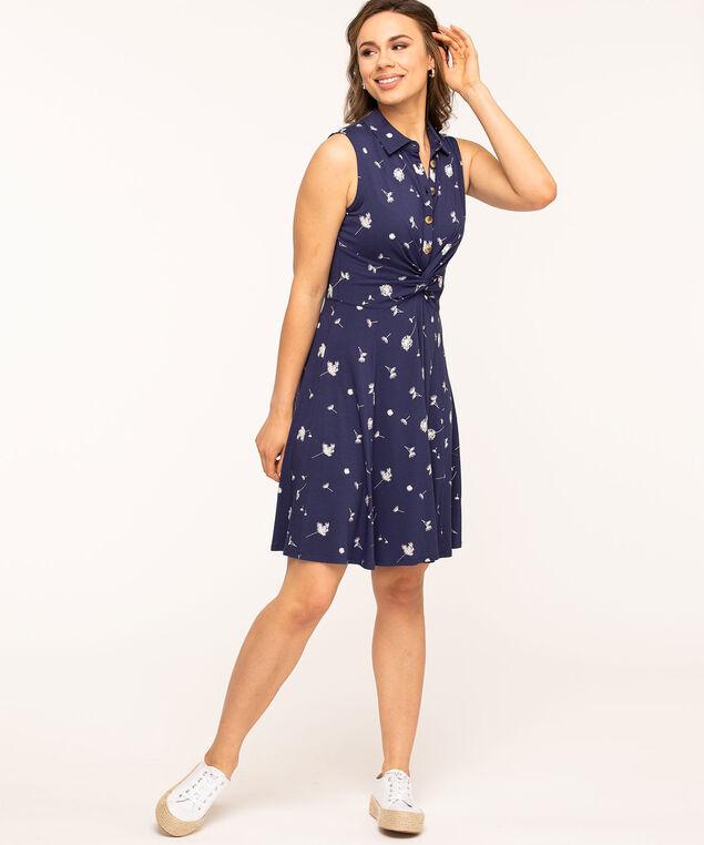 Navy Sleeveless Knot Front Dress, Navy/Ivory