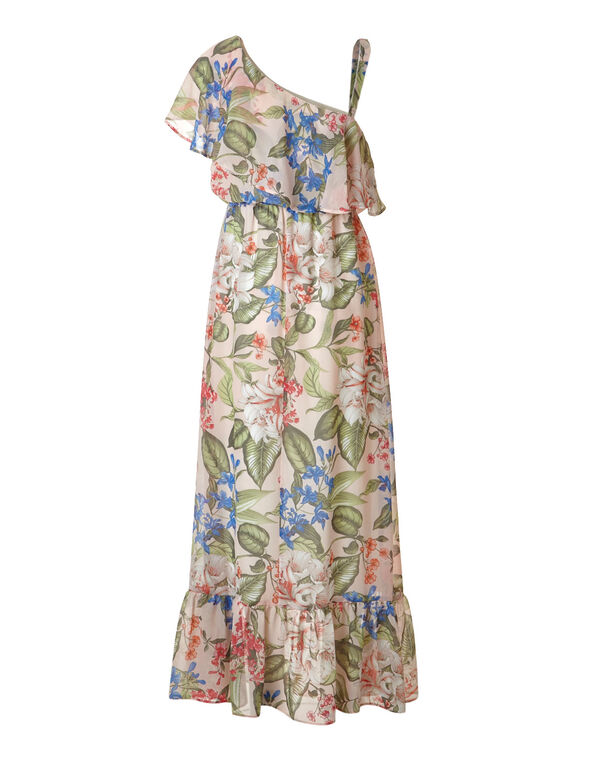 Pink Floral Chiffon Maxi Dress, Pink Print, hi-res