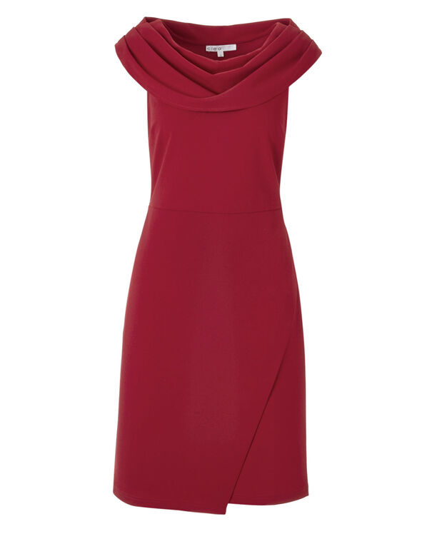 Red Cowl Neck Sheath Dress, Red, hi-res