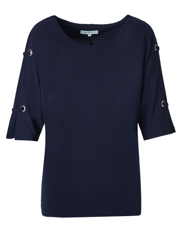 Navy Crepe Top, Summer Navy, hi-res