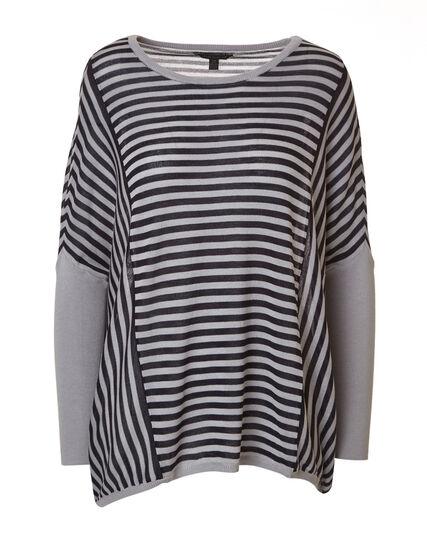 Navy Striped Dolman Sleeve Sweater, Navy/Grey, hi-res