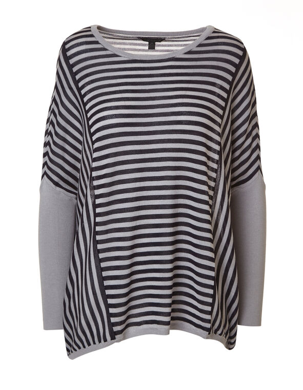 Navy Striped Dolman Sleeve Sweater, Navy/Grey, hi-res