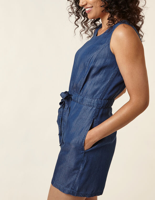 Tencel Tie Waist Romper, Md Blue, hi-res