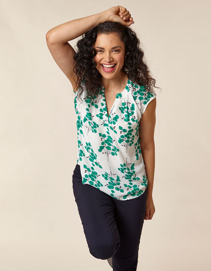 Emerald Floral Gathered Blouse, White/Green, hi-res