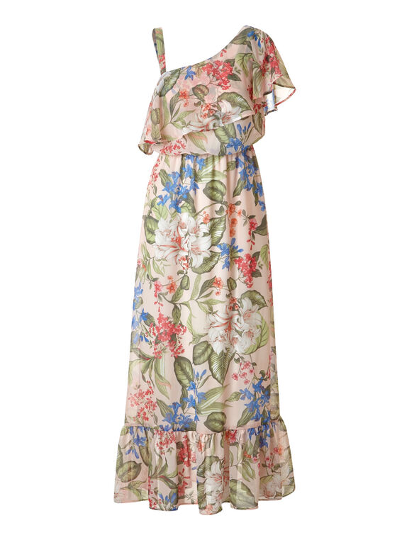 Pink Floral Chiffon Maxi Dress, Pink, hi-res