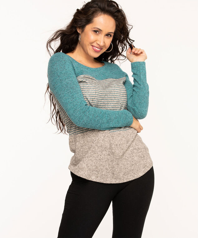 Colour Block Lightweight Knit Top, Teal/Heather Grey