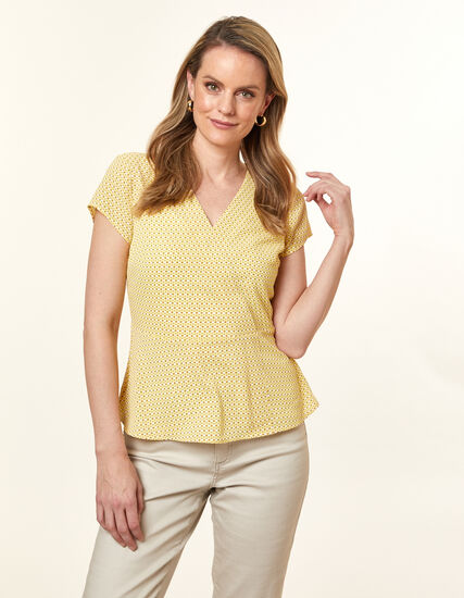 Citrus Peplum Blouse, Yellow, hi-res