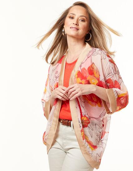 Floral Kimono, Orange, hi-res