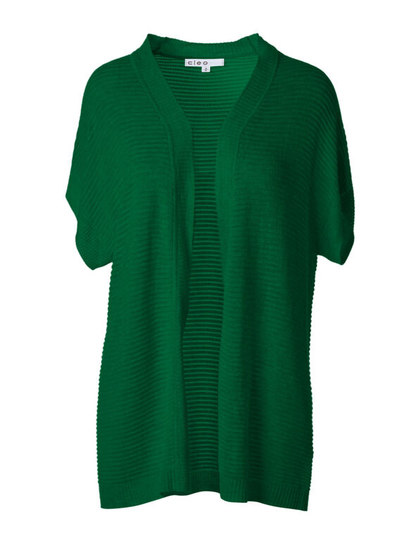 Green Ottoman Stitch Open Cardigan, Green, hi-res