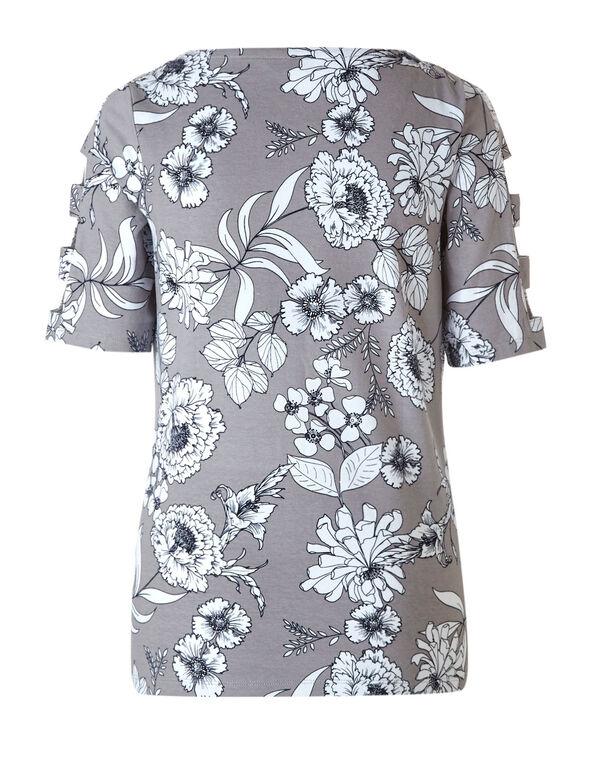 Grey Floral Open Arm Top, Grey, hi-res