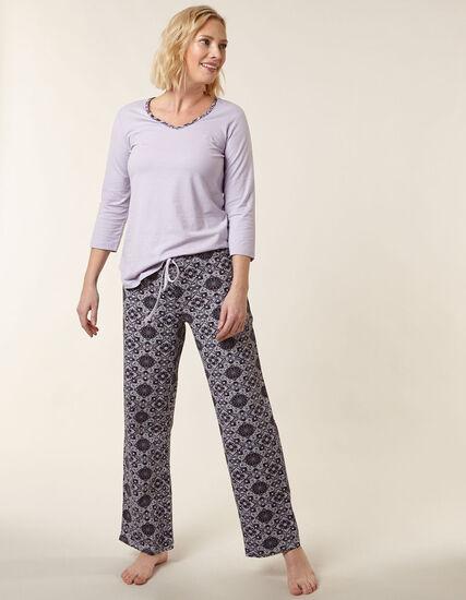 Mauve Paisley Print Cotton Pyjama Set, Purple, hi-res