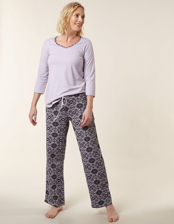 Mauve Paisley Print Cotton Pyjama Set, Purple, hi-res