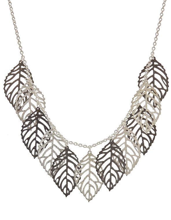 Silver Leaf Short Statement Necklace, Sliver, hi-res