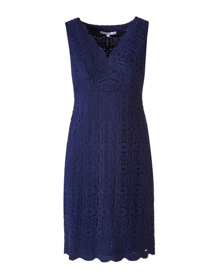 Navy Lace Sheath Dress, Navy, hi-res