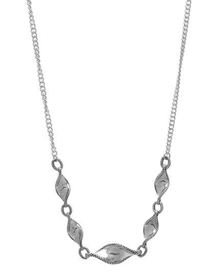 Sliver Twisted Leaf Short Necklace, Silver, hi-res