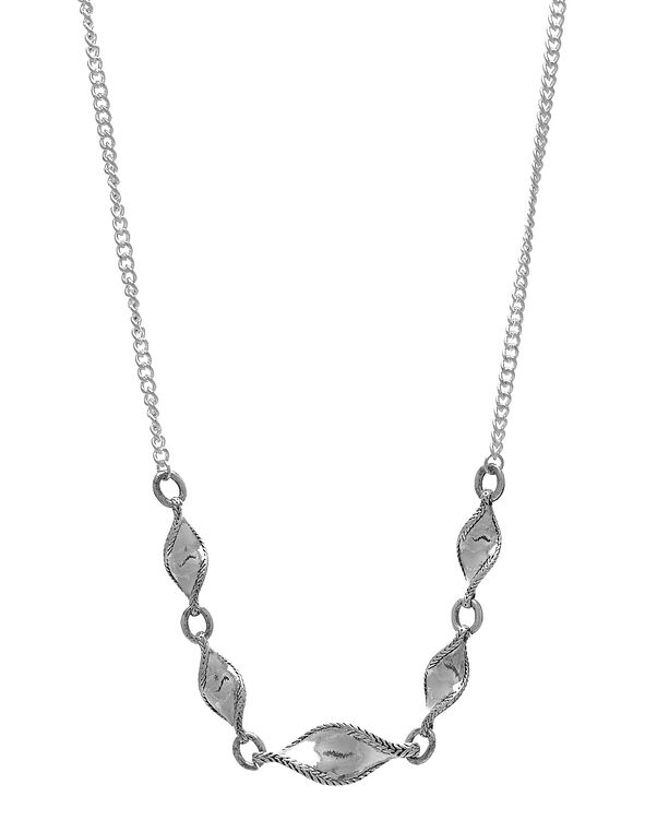 Sliver Twisted Leaf Short Necklace, Silver