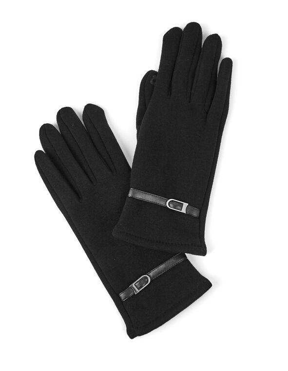 Belt Detail Black Text Gloves, Black, hi-res