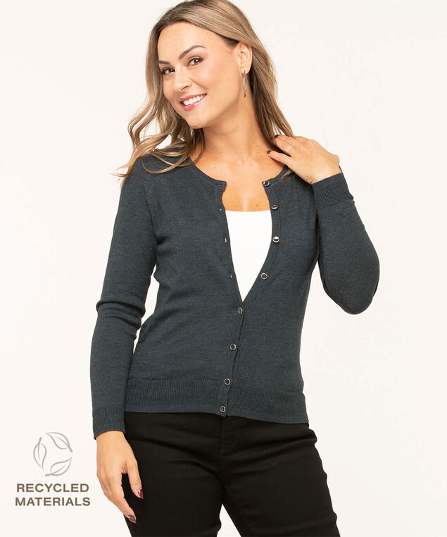 Recycled Button Down Cardigan, Navy Mix, hi-res