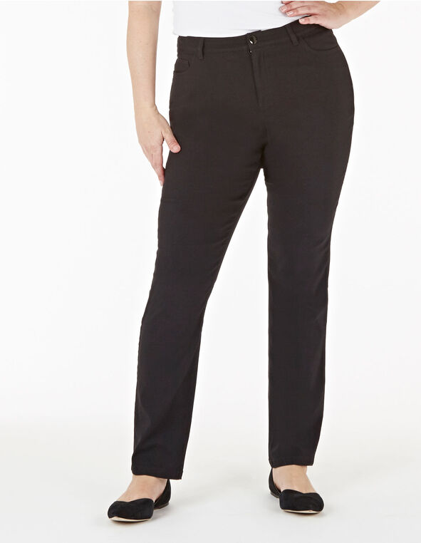Black Curvy 5-Pocket Slim Pant, Black, hi-res