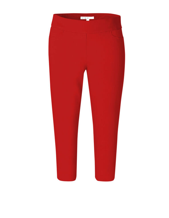 Red Pull On Capri Pant, Red, hi-res