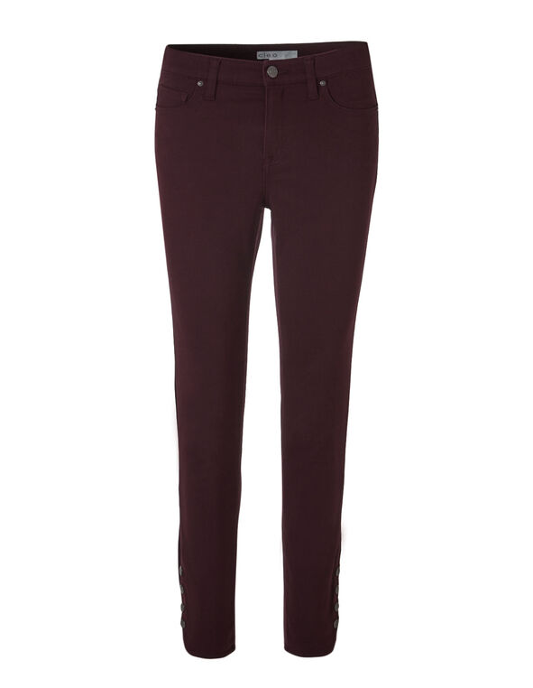 Sueded Everybody Ankle Jean, Burgundy, hi-res