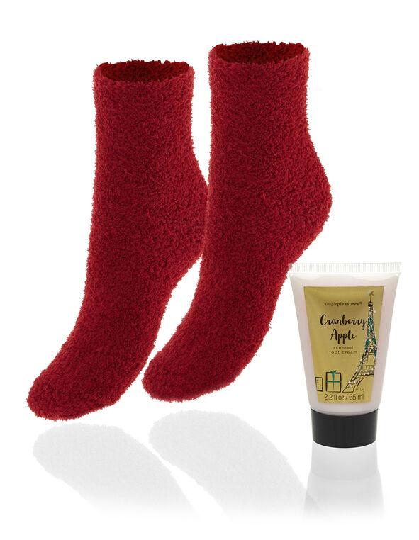 Plush Sock Set With Foot Cream, Red, hi-res