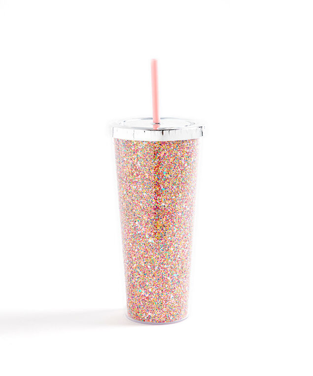 Glitter Tumbler With Straw, Pink