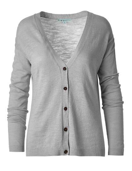 Grey Slub Button Front Cardigan, Light Grey, hi-res