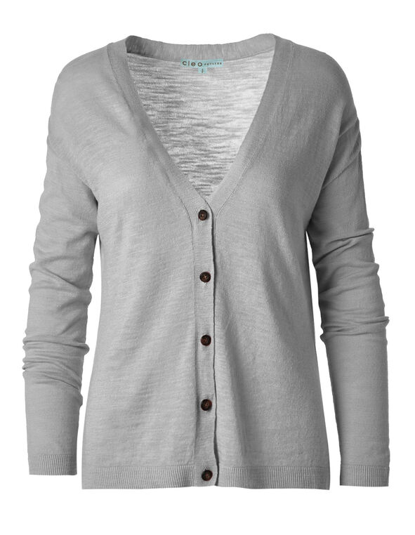 Grey Slub Button Front Cardigan, Light Grey, hi-res