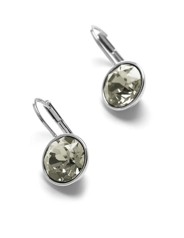 Black Genuine Crystal Earring, Black, hi-res