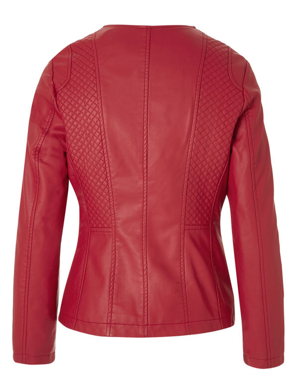 Red Collarless Faux Leather Jacket, Red, hi-res