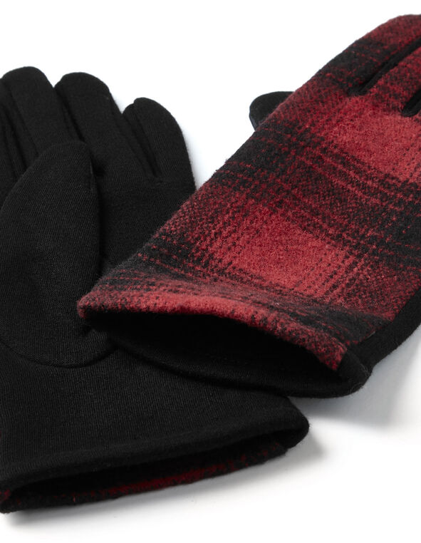 Red Plaid Text Gloves, Red, hi-res