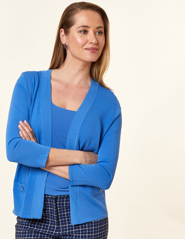 Cornflower Pointelle Knit Cardigan, Blue/Cornflower, hi-res