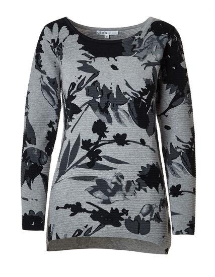 Grey Printed Dolman Cotton Sweater, Grey/Black, hi-res