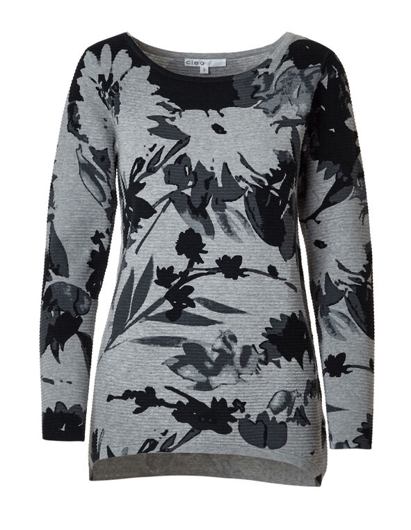 Grey Printed Dolman Cotton Sweater, Grey/Black, hi-res