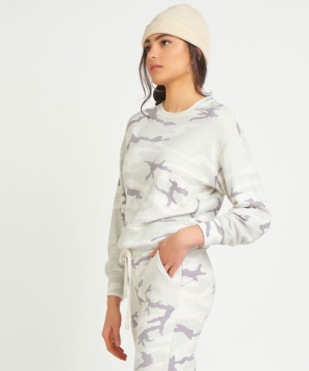 Dex Camo Crew Neck Sweatshirt, Light Grey Camo