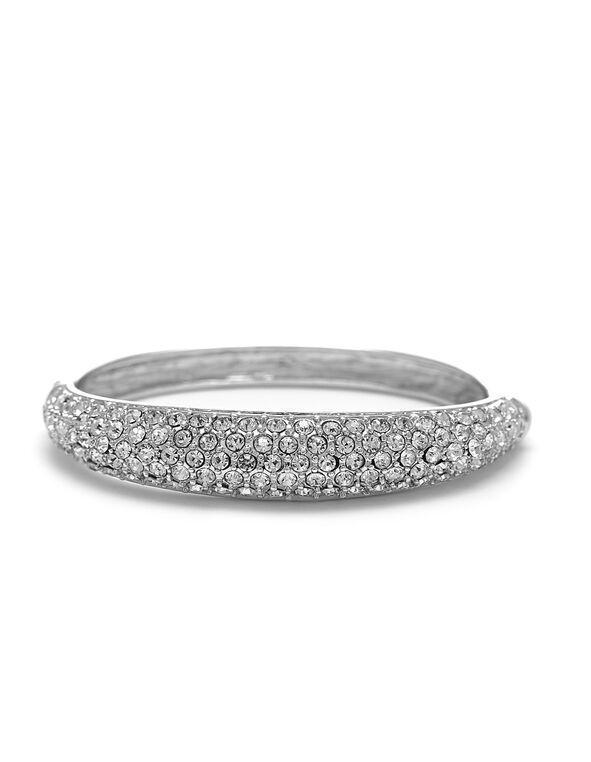 Sliver Crystal Hinge Bracelet, Silver, hi-res