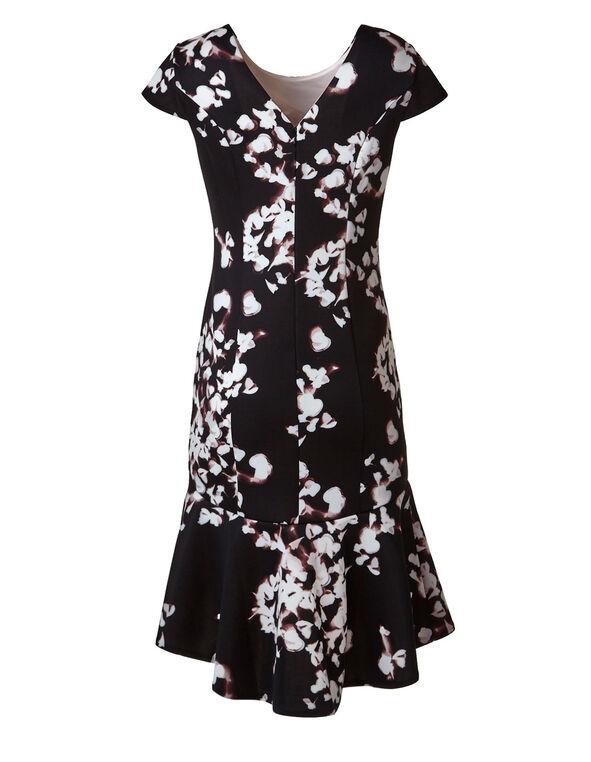 Black Floral Shift Dress, Black/Pink, hi-res