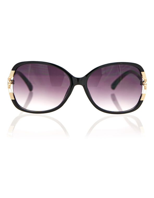 Black Flower Detail Sunglasses, Black, hi-res