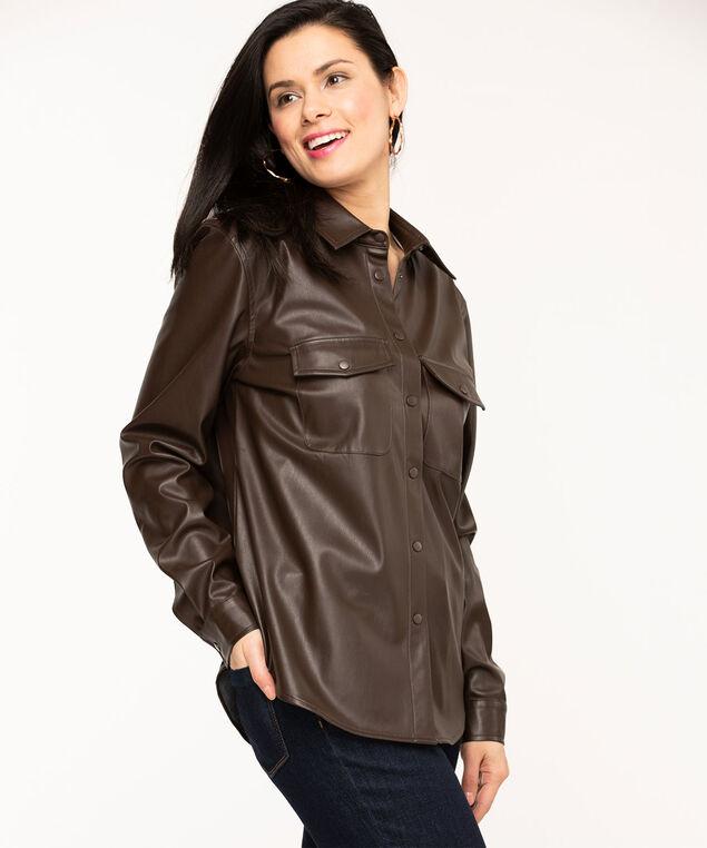 Vegan Leather Shirt Jacket, Brown