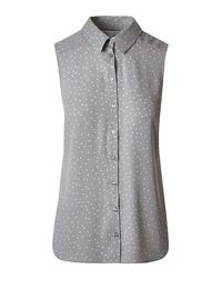 Grey Print Button Front Blouse