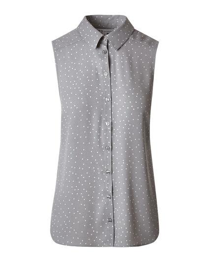 Grey Print Button Front Blouse, Grey, hi-res