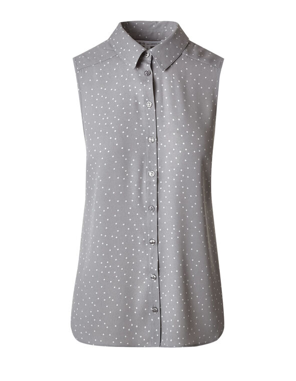 Grey Print Button Front Blouse, Grey, hi-res