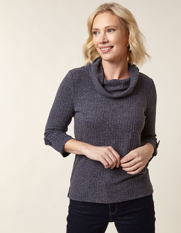 Navy Hacchi Cowl Neck Top, Navy, hi-res