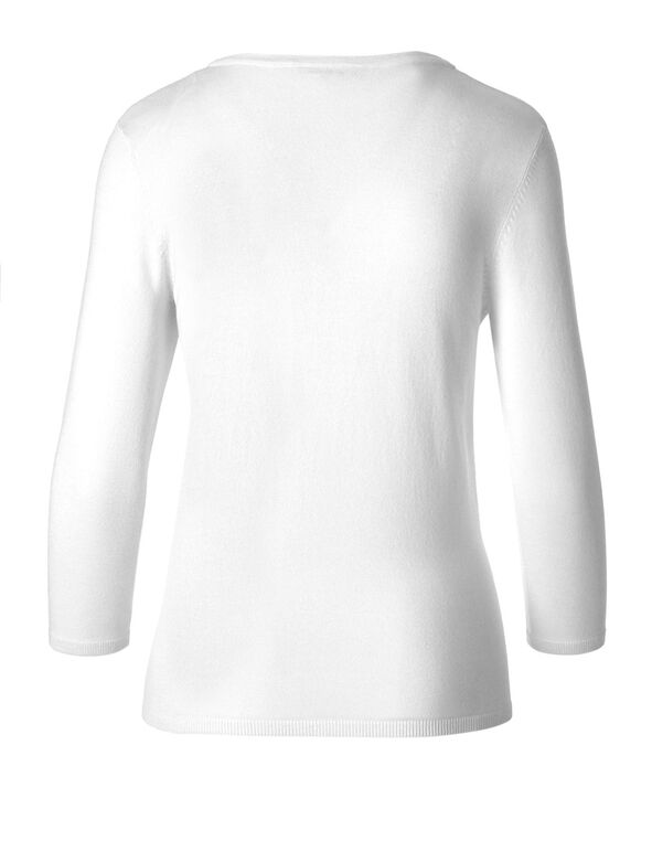 White Wrap Styled Pullover, White, hi-res