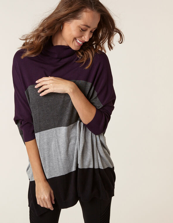 Purple Striped Turtleneck Sweater, Purple, hi-res